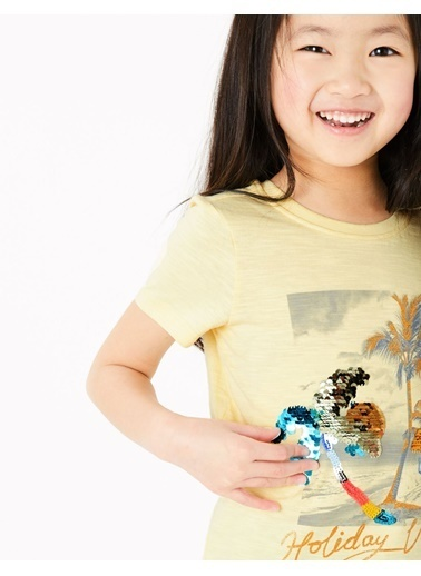 Marks & Spencer Pullu Kısa Kollu T-Shirt Sarı